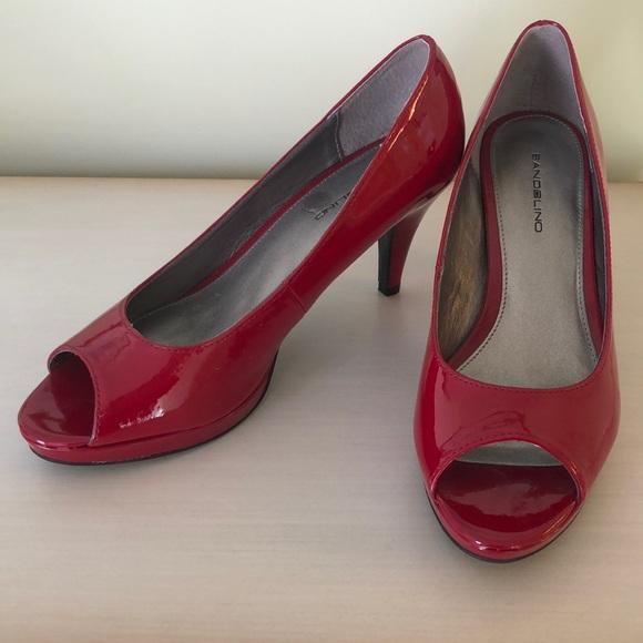 e5461a596316 Bandolino Shoes - Bandolino Red Peep Toe Heels Size  8.5M